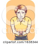 Poster, Art Print Of Man Burning Stomach Illustration