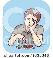 Man Food Loss Appetite Illustration