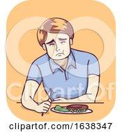 Poster, Art Print Of Man Pain Improves When Eating Illustration