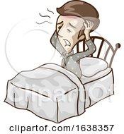 Man Low Blood Wake Up Headache Illustration