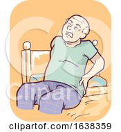 Senior Man Symptom Joint Stiffness Illustration