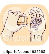 Poster, Art Print Of Hands Drug Dependent Illustration