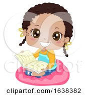 Kid Girl African Read Book Cushion Illustration