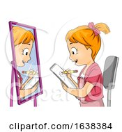 Kid Girl Draw Self Illustration