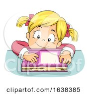 Kid Girl Lean Table Book Illustration