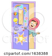 Kid Girl Muslim Classroom Welcome Illustration