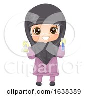 Kid Girl Muslim Holds Flask Test Tube Illustration