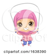 Kid Girl Muslim Jumping Rope Illustration