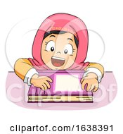 Kid Girl Muslim Lean Table Book Illustration