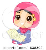Kid Girl Muslim Read Book Illustration
