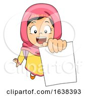 Kid Girl Muslim Showing Test Paper Illustration