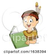 Kid Girl Native Indian Read Book Illustration