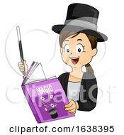 Kid Girl Read Magic Book Wand Illustration