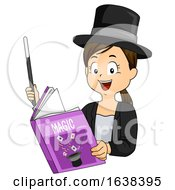 Kid Girl Read Magic Book Wand Illustration
