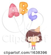 Kid Girl Mylar Balloon Illustration by BNP Design Studio