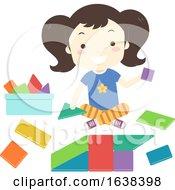 Kid Girl Build Toy Shape Blocks Illustration
