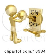 Gold Person Holding A Switch And Turning The Lever On Clipart Illustration Graphic by 3poD