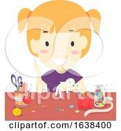 Poster, Art Print Of Kid Girl Doll Making Illustration