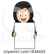 Kid Girl Muslim Qatar Blank Board Illustration