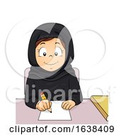 Kid Girl Qatar Study Write Illustration