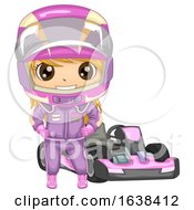 Kid Girl Sports Go Kart Illustration
