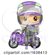 Kid Girl Sports Motor Racing Illustration