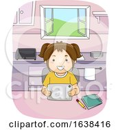 Kid Girl Tablet Kitchen Study Illustration
