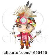 Kid Boy Native American Apache Illustration