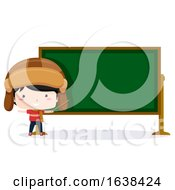 Kid Boy Aviator Black Board Illustration