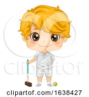 Kid Boy Croquet Illustration