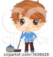 Kid Boy Curling Illustration