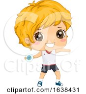 Kid Boy Discus Thrower Illustration