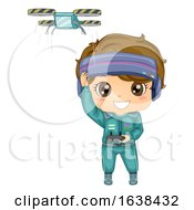 Kid Boy Drone Race Illustration