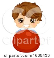 Kid Boy Exercise Ball Illustration