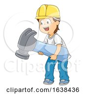 Kid Boy Hammer Construction Hat Illustration