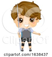 Kid Boy Javelin Throw Illustration