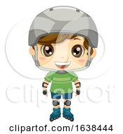 Kid Boy Pose Roller Blades Illustration