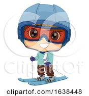 Kid Boy Snow Skiing Illustration