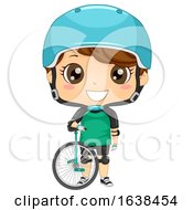 Kid Boy Unicycle Illustration