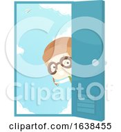 Kid Boy Aviator Door Illustration