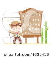Kid Boy Cowboy Rope Alphabet Board Illustration