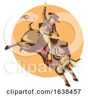 Man Cowboy Bull Ride Illustration