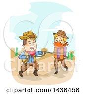 Man Cowboy Catch Criminal Illustration