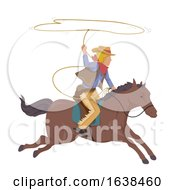 Poster, Art Print Of Man Cowboy Horse Lasso Rope Illustration