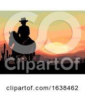 Man Horse Cowboy Old West Sunset Illustration