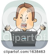 Man Laptop Angry Illustration