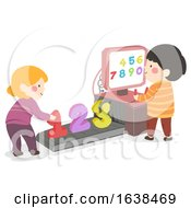 Kids Scanning Machine Numbers Illustration