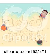 Stickman Kids Beach Sand Numbers Illustration