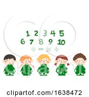 Kids Clovers Numbers Math Illustration