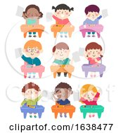 Kids Class Seats Hold Papers Illustration